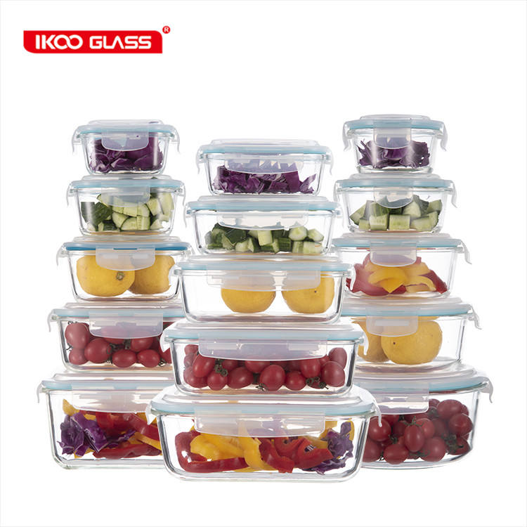 Wholesale custom logo glass storage container food with lid