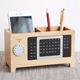 JAYI Custom High Quality Wooden Desk Calendar with Mobile Stand Pen Holder