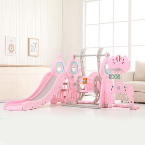 Updated Pink Indoor Playground Plastic 3 in 1 Baby Slide and Swing for Kids