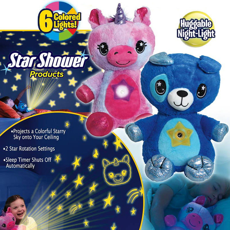 Hot Sale Star Belly Dream Lites sleeps on a glowing plush unicorn toy for soothing children with a projection lamp