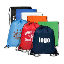 recyclable cheap custom logo printed foldable drawstring polyester bag