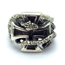 Vintage Ring Men Real Pure 925 Sterling Silver Jewelry Cross the snake ring