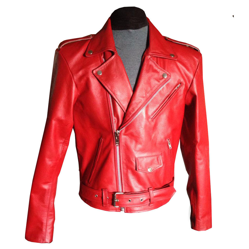 Cool Rits Geborduurde Faux Leather Biker Jacket