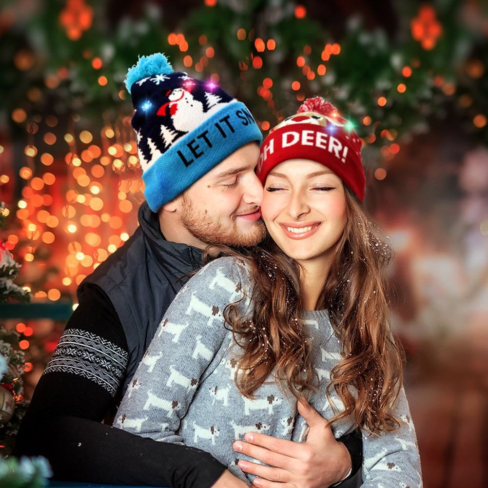 Ourwarm New Design Hats Christmas Knitted Blue Red Santa Elk Couple LED Christmas Hats For Family