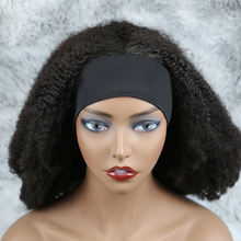 Wholesale different curly Virgin Brazilian human hair headband wig for black women