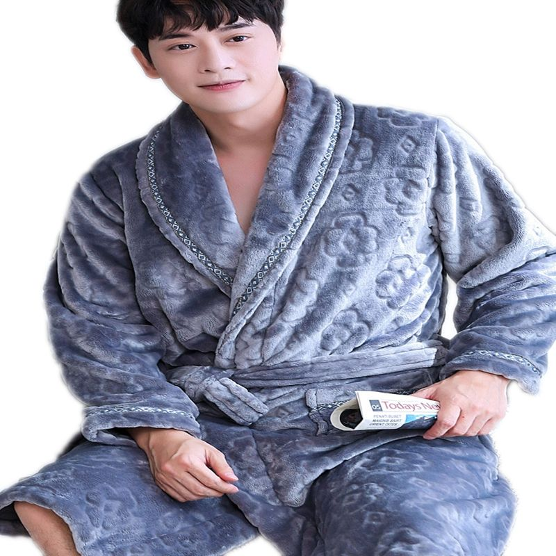 Fugari Promotion Stock Flannel Pajama Breathable Bathrobe