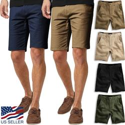 Men's Essential Chino Stretch Oxford Summer Flat Front Dress Shorts