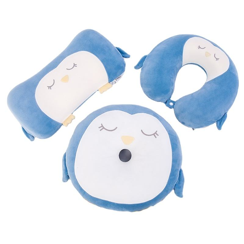 Stock sea series penguin and sea lion pattern memory foam twist neck pillow waist pillow and seat cushion sets