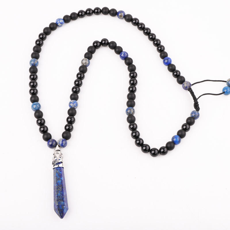 High Quality Healing Point Pendant 8mm Black Onyx Lapis Lazuli Bead Men Jewelry Necklace