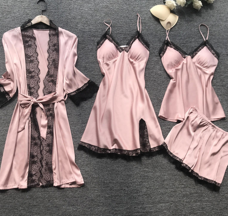 2021 Spring And Summer Women Sleepwear Plus Size 4-piece Silk Home Lace Pajamas Sexy Nighty For Honeymoon
