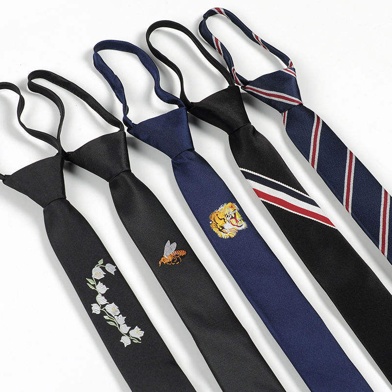 Manufacturers Custom Embroidered Logo Men's Suits Fashion Accessories 5cm Plain Skinny Zipper Necktie Lazy Tie
