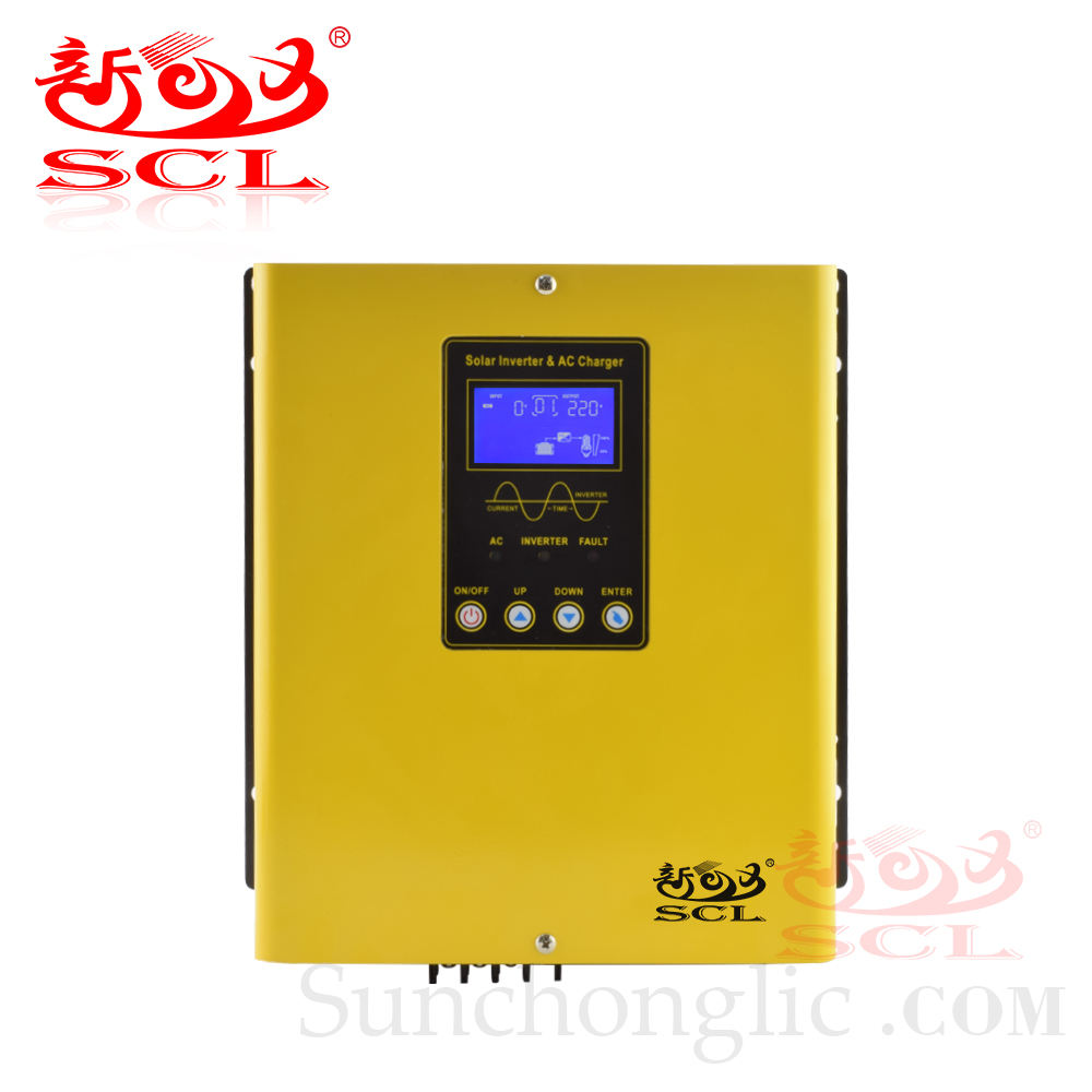 Sunchonglic 1KW 12V DC to 220V With 20A Charger and PWM Controller 30A AC Pure Sine Wave 1000W Hybrid Solar Inverter