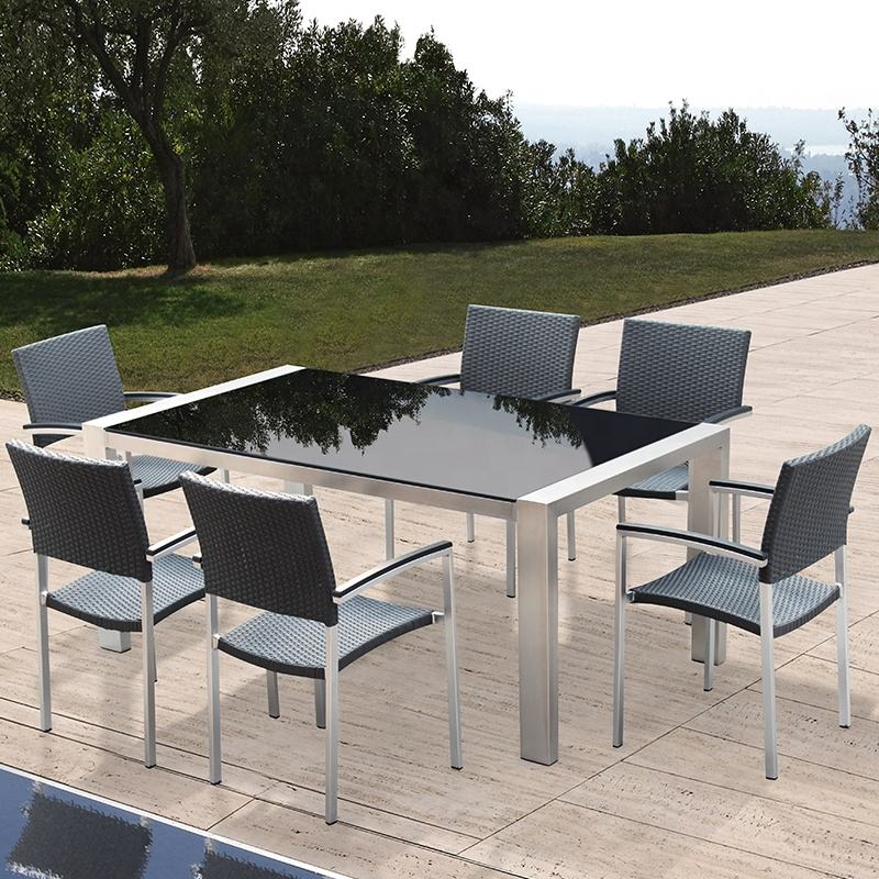 Commercial outdoor furniture garden rattan wicker dining set table and chair patio furniture