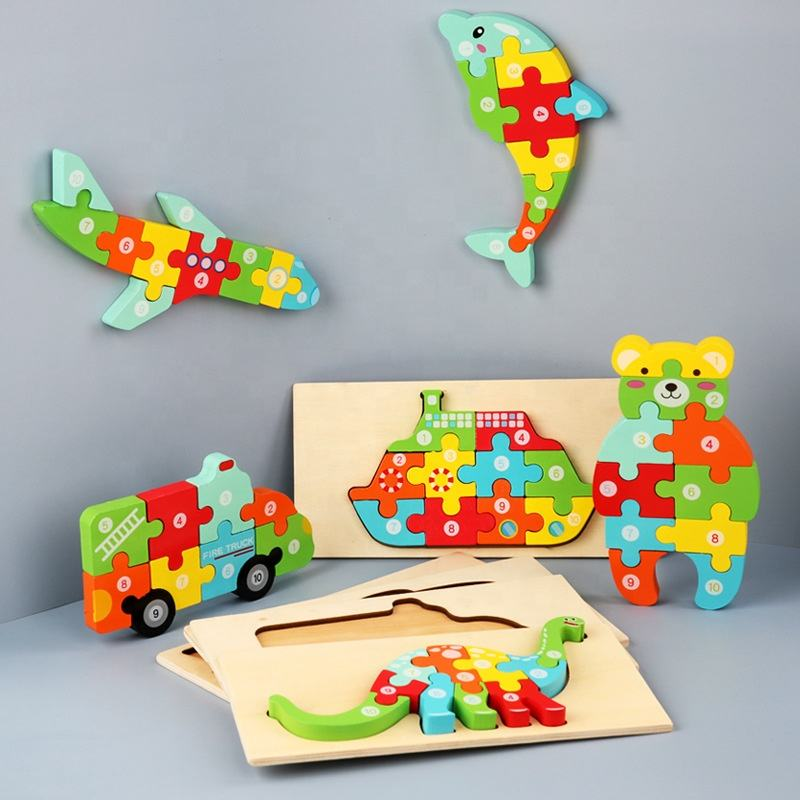 Hot Selling New Designs Wooden 3D Puzzles montessori Game Toys Children wood jigsaw puzzle Educational Toys for kids