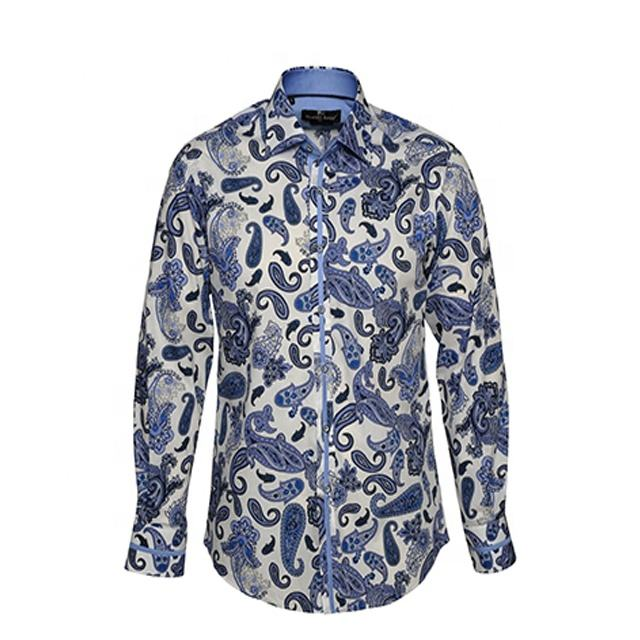 Custom 100% Cotton Mens Paisley Shirt/Fashion All Over Print Floral Shirt Wholesale