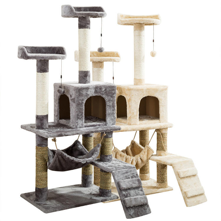House Tower Scratcher Wooden Big Climbing Cats Tree