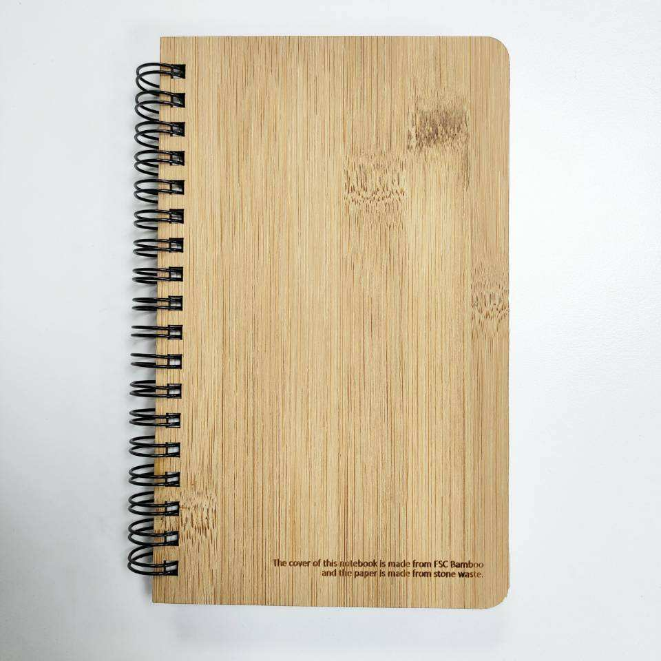 Amazon eco friendly wire binding A5 bamboo cover stone paper notebook