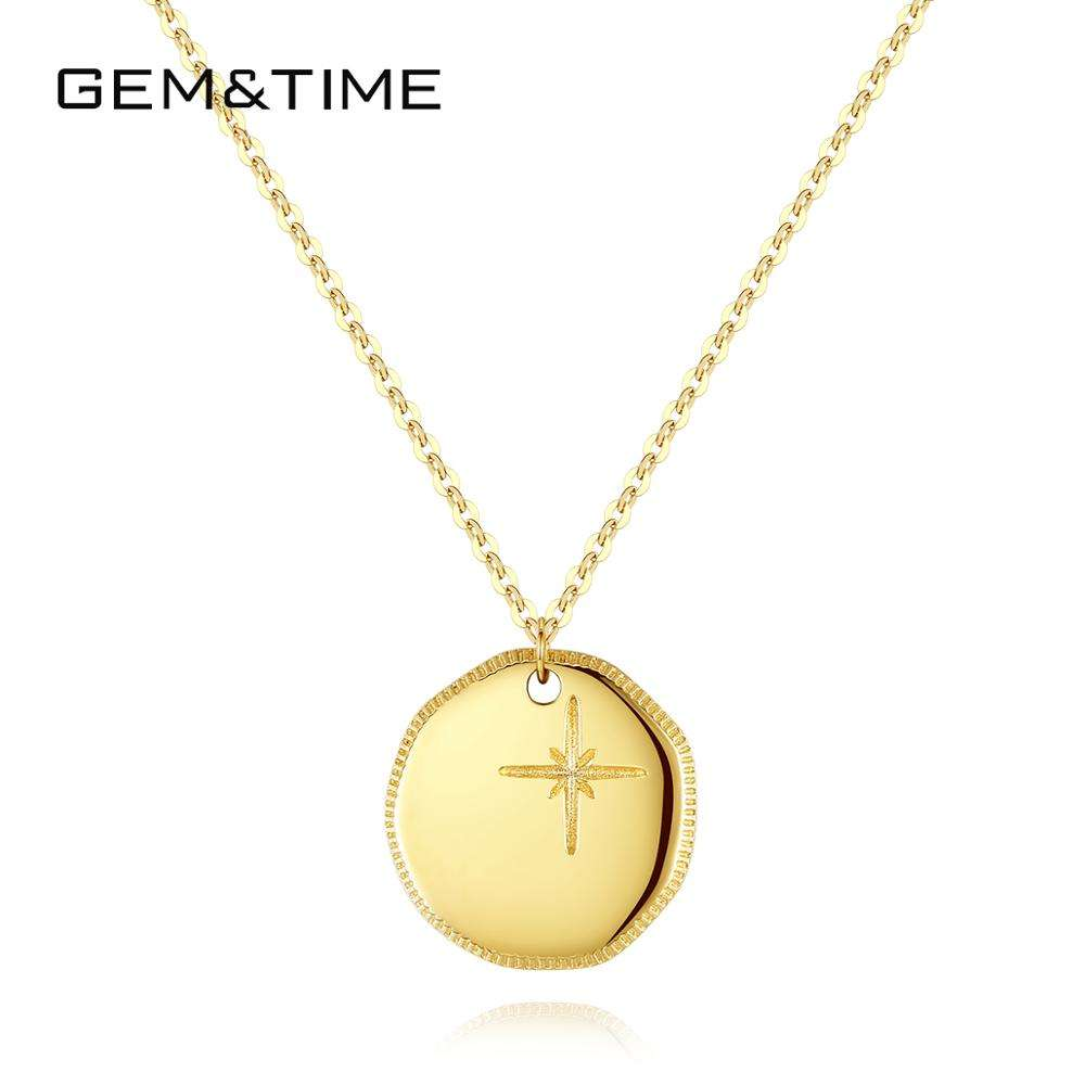 GEM&TIME New Trend 14K Gold Filled Simple Coin Pendant Necklace Inlaid with Cross Designs for Woman Gift