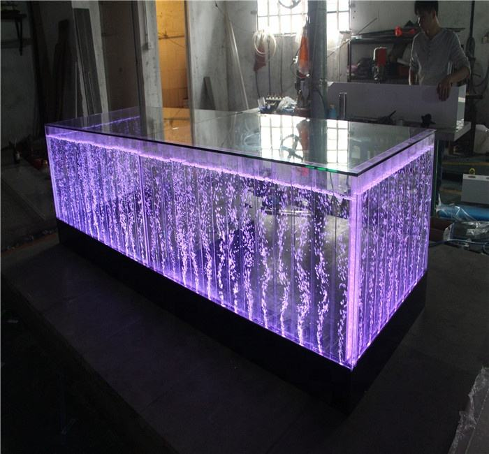 Customized acrylic water bubble fountain LED Bar Counter design