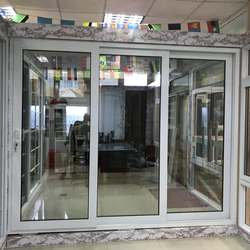 Cheap Price PVC Double Tempered Glass Sliding Door with Fly Screen