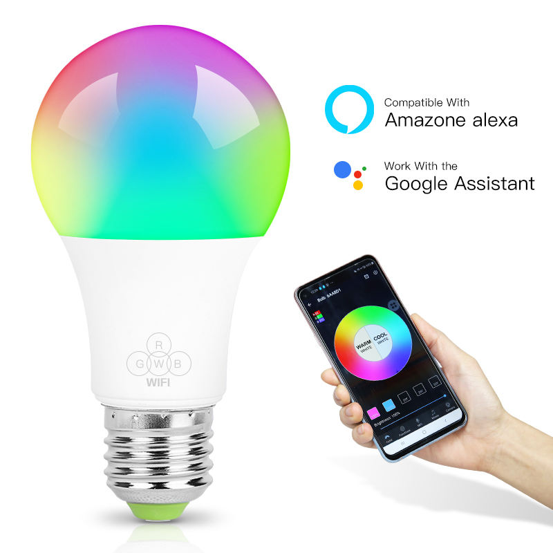 110V 220V E26 E27 A60 Music Disco Remote Colourful Lamp RGB Dimmable Color Changing Alexa Wifi Smart LED Bulb,LED Light Bulb