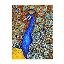 5d Elegant Full Drills Peacock Canvas Diamond Decorative Painting for Wall Art