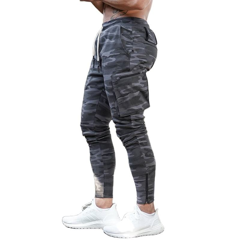 OEM Wholesale custom como printed cotton sports pants for men running training mens gym cargo pants jogger pants