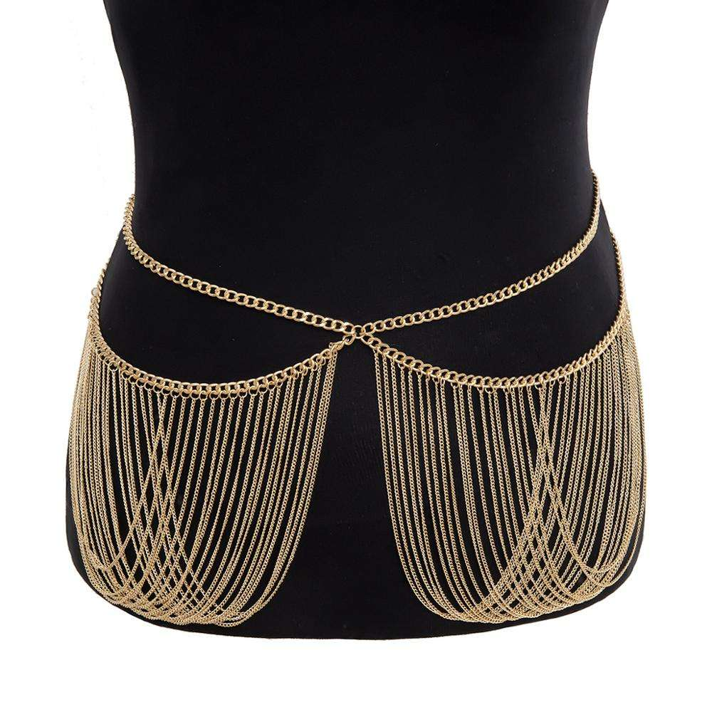 XRS016 Trade Assurance New Design Fashion Personality Crossed Chain Body Chain Vintage Multilayer Tassel Waist Chain