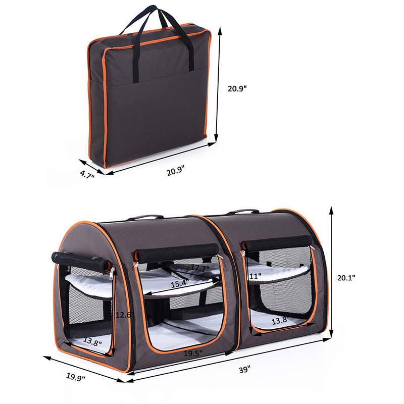 Outdoor Soft Sided Portable Dual Compartment Pet Travel Carrier Kennel Shelter For Dog Cat