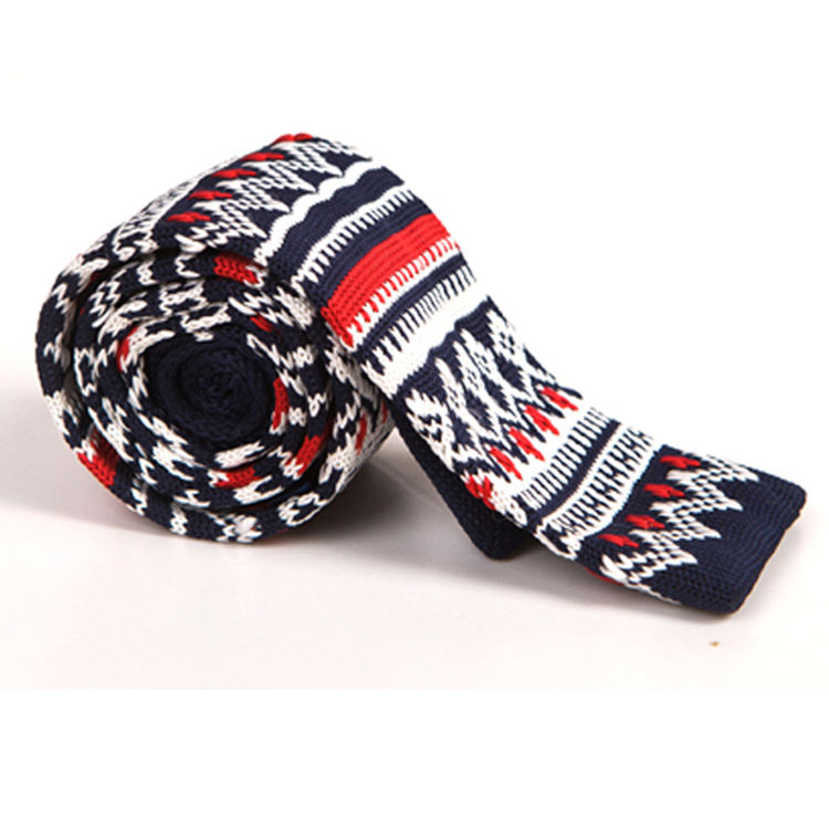 custom fashion mens polyester hand knitted skinny ties