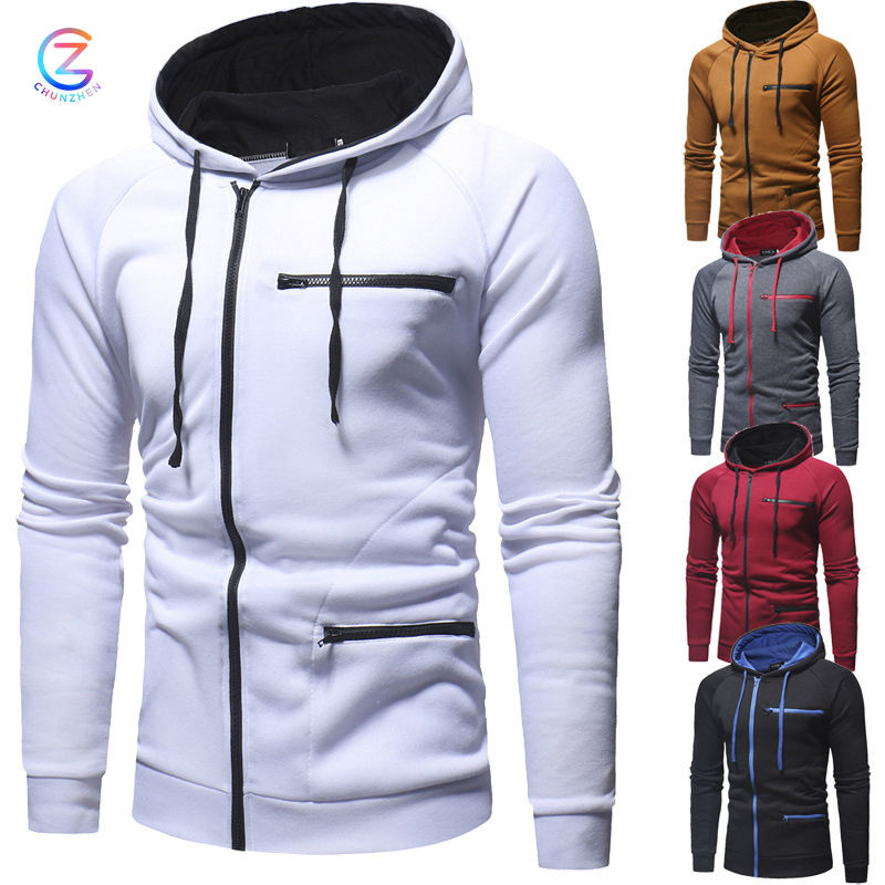 New autumn and winter zipper accessories foreign trade men's long-sleeved sweater casual self-cultivation zipper cardigan hoodie