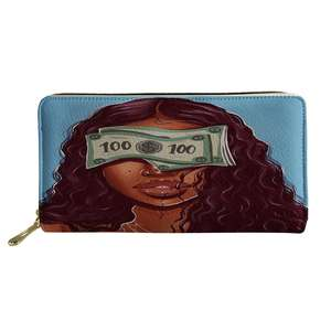 Female Wallet Black Art Afro Lady Girls Printing PU Leather Women's Purse Coin Cash Fashion Wallets for Ladies