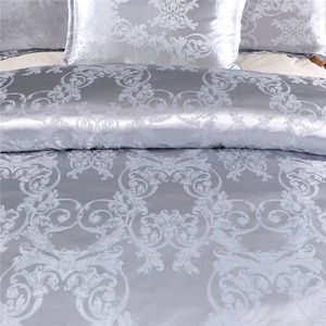 Amazon Hot Sale Customize Grey 240x260 Silk Jacquard Duvet Cover Bedding Set