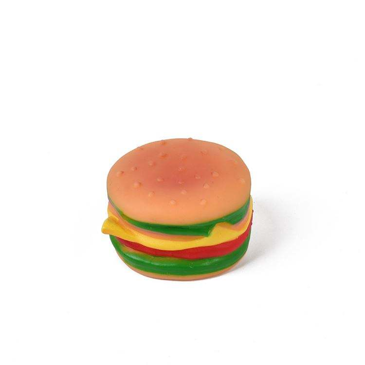 Best seller custom design pet play hamburger style jumping chewing toy fo dog