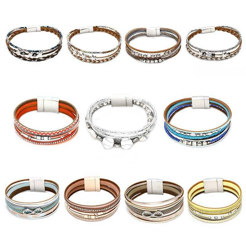 Fashion Braided Rope Cord Wrap PU Leather Bracelet Femme Women Customized Magnetic Clasp Lucky Knot Genuine Leather Bracelet