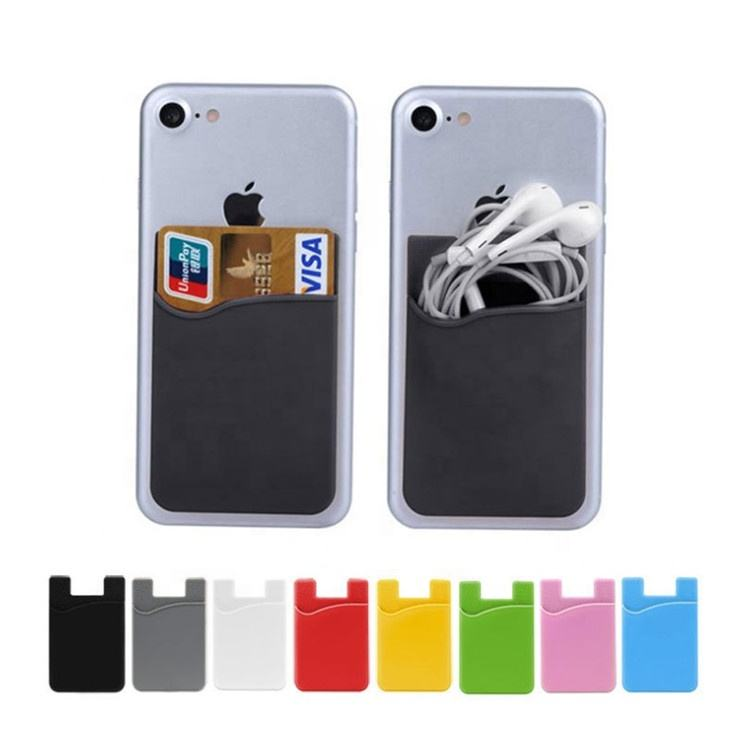 Custom logo adhesive 3m sticky mobile phone cellphone silicone card holder paypal accept