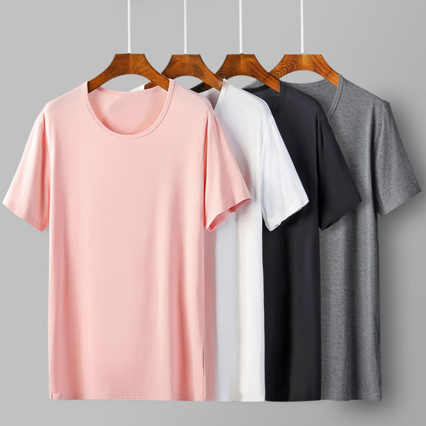Wholesale Blank Slim T Shirts Soft 95% Bamboo Fiber Basic White Bulk Blank T-shirts For Men Fashion tshirts Summer Top Tee Homme