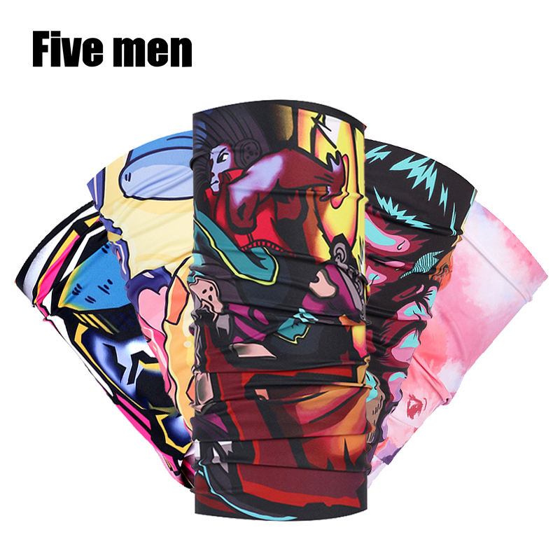 FIVE MEN Silver ion custom logo fishing biker seamless tube bandana headband