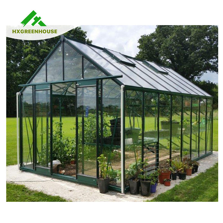 Deluxe insulated tempered glass aluminium agriculture greenhouse for sale HX98125