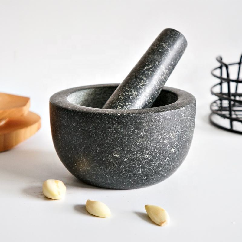 Solid stone granite mortar & pestle set for spices seasonings pastes and guacamole
