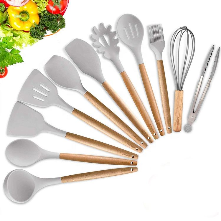 2020 Hot Selling BPA Free Silicone Cooking Utensils 11 Pieces Eco-friendly Wooden Silicone Kitchen Accessories Utensils Set