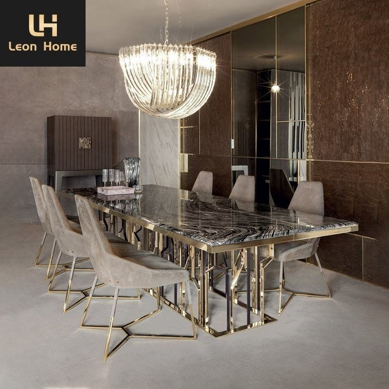 Hot selling dining room furniture marble modern dining table set and chairs