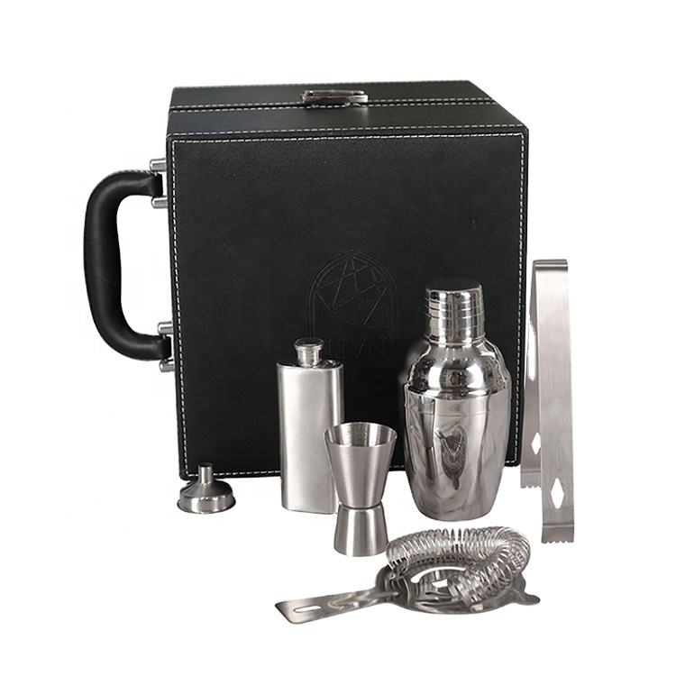 DX 6pcs Good Quality Stainless Steel Cocktail Professional Tool Barware Kit Bag For Gift