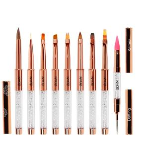 BQAN Rose gold plastic Handle Nail Brush Set Design Gel Polish Painting Drawing Acrylic Gel Nail Brushes with Rhinestone
