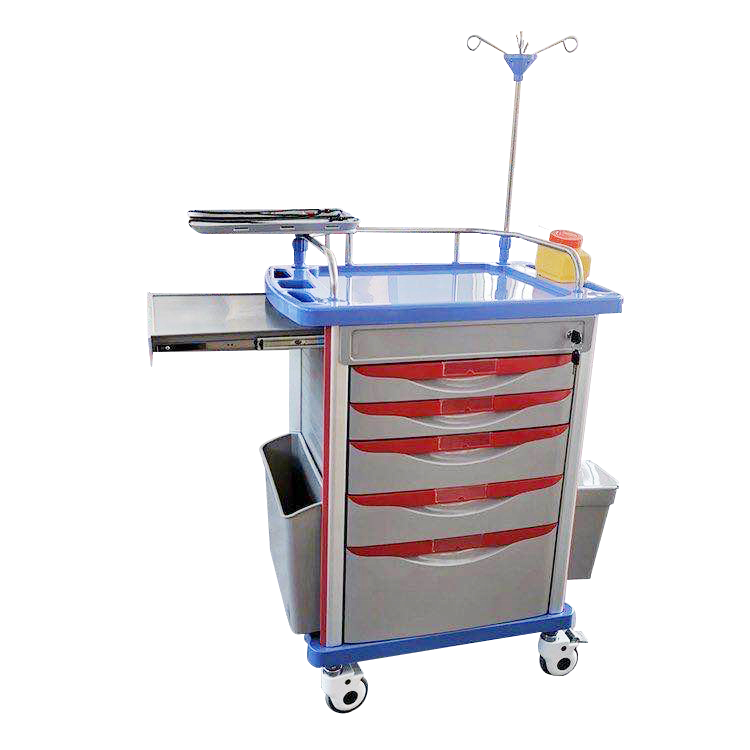 Crash medical cart hospital functional workstation trolley hospital equipment for treatment ABS trolley medical