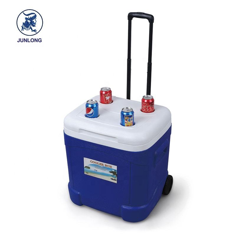 Hot Sales Promotion High Quality OEM 55L insulated trolley ice box cooler with wheel , ice cooler box