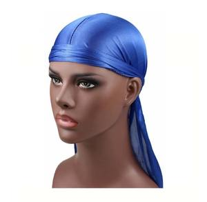 Custom bandanas satin du rag 100% nature silk Durag with long tail head wrap