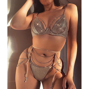 Womens Luxury Lingerie Sexy Underwear Two Piece Bra Set Metal Rhinestone Dec Breathable Plus Size Hot Transparent