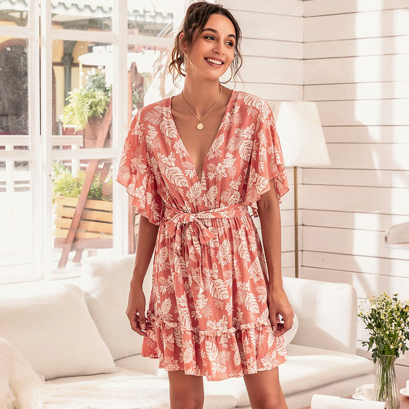 2021 Summer Daily Casual Floral Bohemia Floral Beach Short Dress Casual Sexy Rayon Sundress Plus Size Beach Bridesmaid Dresses