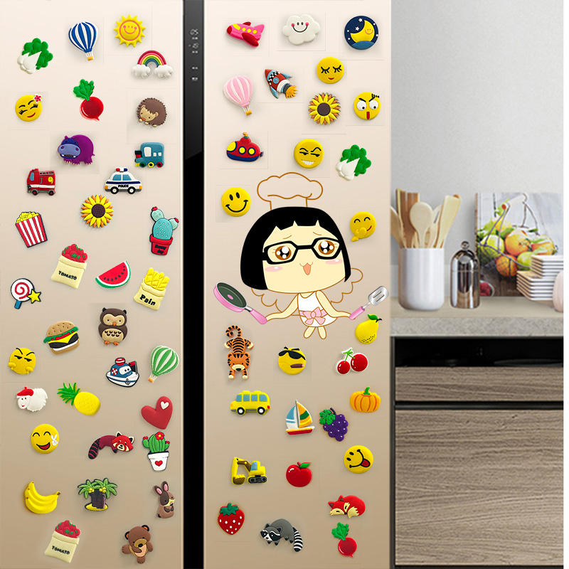 customized oem Creative Souvenir PVC Children's 3D Cartoon Magnet Fridge Magnet Refrigerator sticker